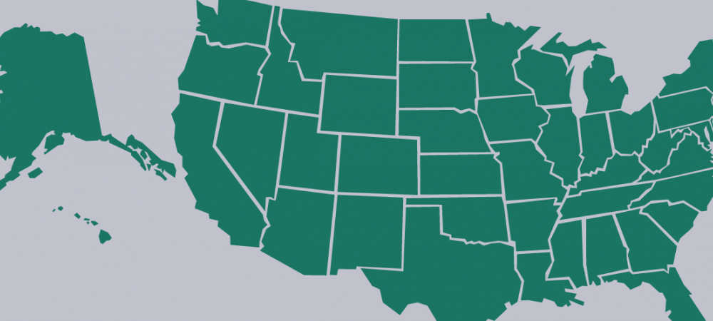 USA state outlines.